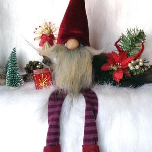 KARÁCSONYI manó, skandináv gnom  csíkos lábbal bordó sapkával, Karácsony & Mikulás, Karácsonyi dekoráció, Baba-és bábkészítés, Varrás, KARÁCSONYI MANÓ skandináv gnom csíkos lábbal bordó sapkával\n egyedi,kézzel készített, saját termék\nk..., Meska