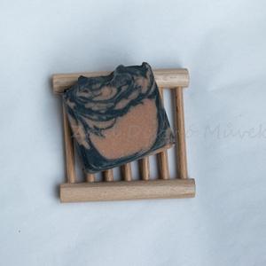 fekete-rózsaszín arcmosó szappan kecsketejjel, Szépségápolás, Szappan & Fürdés, Szappan, Szappankészítés, Kozmetikum készítés, Rózsaszín agyag, növényi szén és balaton-felvidéki kistermelői kecsketej egy márványos mintájú kézmű..., Meska
