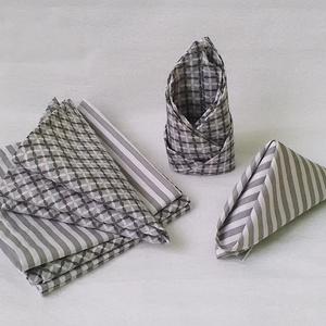 Szürke-fehér textil szalvéta készlet 6 db-os, VEGYES MINTA, Konyhafelszerelés, Otthon & lakás, Lakberendezés, Lakástextil, Varrás, Szürke-fehér csíkos és szürke-fehér-sötétszürke virág mintájú beavatott (100%) pamutvászonból készül..., Meska