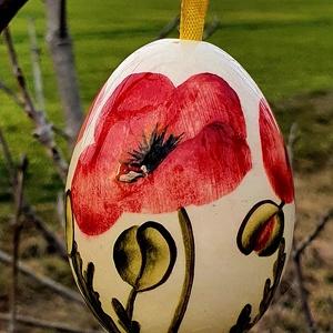 Húsvéti tojás pipaccsal, Otthon & Lakás, Dekoráció, Dísztárgy, Kerámia, Egyedi kézi festésű pipacsos tojás.\nDíszítsd otthonod vagy kerted gyönyörű egyedi kézzel festet pipa..., Meska