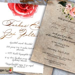 Minimalista Kalligrafikus meghívó 3 variáció választható  papíron Tetszőleges háttéren , Esküvő, Meghívó, ültetőkártya, köszönőajándék, Minimalista gyönyörű kalligráfia - A sorozathoz tartozik Visszajelző, Részletek, Köszönő, Menü és Üd..., Meska