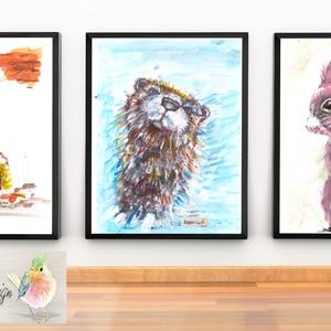 Rókás gyerekszoba dekoráció, falikép  - , PRINT!, Otthon & lakás, Dekoráció, Kép, Művészpapírra (Akvarell papír 300g/m2)) nyomtatott falikép - design háttér, festett BEIGE, ARANY, és..., Meska