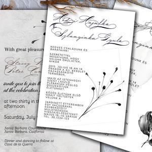 Minimalista esküvői meghívó készlet, Esküvő, Meghívó, ültetőkártya, köszönőajándék, Ennél a meghívónál több variációt alkalmaztam  - nagyon fontos, hogy vásárlás  előtt egyeztessünk.  ..., Meska