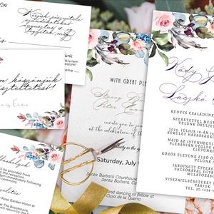 Tavaszi, nyári virágokkal díszített  meghívó szett - több háttérrel kérhető, Esküvő, Meghívó, ültetőkártya, köszönőajándék, Ennél a meghívónál több variációt alkalmaztam  - nagyon fontos, hogy vásárlás  előtt egyeztessünk.  ..., Meska