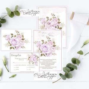 Rózsás Esküvői meghívó - Visszajelző kártyával Online szerkeszthető szöveggel  , Esküvő, Meghívó, ültetőkártya, köszönőajándék, Rózsaszín Rózsás Esküvői meghívó + Visszajelző kártya -  Nyomtatott vagy digitális formátum (Saját t..., Meska