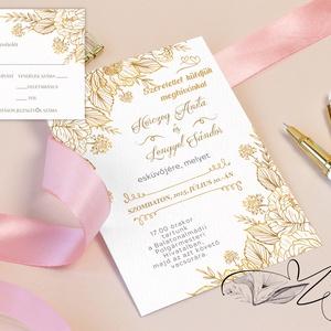 Bazsarózsás Arany színű Esküvői meghívó - Visszajelző kártyával Online szerkeszthető szöveggel  , Esküvő, Meghívó, ültetőkártya, köszönőajándék,  Bazsarózsás Arany színű Esküvői meghívó + Visszajelző kártya -  Nyomtatott vagy digitális formátumb..., Meska