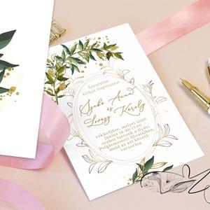 Leveles, arany színű -  esküvői meghívó 1 lapos 2 oldalas, Esküvő, Meghívó, ültetőkártya, köszönőajándék, Egylapos 2 oldalas meghívó. Fehér vagy bézs (öregített) színben. Ön meghatározhatja, vagy akár szerk..., Meska