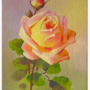 Olajfestmény - sárga rózsa, Művészet, Festmény, Olajfestmény, Festészet, Sárga-rózsaszín rózsát ábrázoló olajfestmény, Catherine Klein képe alapján festette Zorády Lívia. 13..., Meska