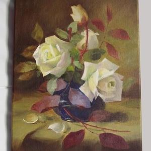 olajfestmény - Fehér rózsák , Művészet, Festmény, Olajfestmény, Festészet, Ez a fehér rózsákat ábrázoló kép, Frans Mortelmans festménye alapján készült. 25x35 centiméteres ékr..., Meska