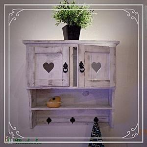 Egyedi fali kisszekrény-polc, Polc, Bútor, Otthon & Lakás, Famegmunkálás, Festett tárgyak, \nFali szekrény\n\nMéretei:\nMagasság 60 cm\nHossz: 60 cm\nMélység 25 cm\n\nElőszobába, konyhába, de akár a ..., Meska