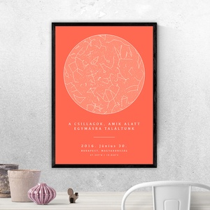 Csillagtérkép - Típusok: Kör, Szív, Saját fotóddal / Szín: Korall (10 fajta színben a termékeim között!), Otthon & Lakás, Dekoráció, Kép & Falikép, Fotó, grafika, rajz, illusztráció, Mindenkinek van legalább egy felejthetetlen emléke az életében.Örökítsd meg a pillanatot egy különl..., Meska