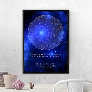 Csillagtérkép - Típusok: Kör, Szív, Saját fotóddal / Szín: Kék Univerzum (10 fajta színben a termékeim között!), Otthon & Lakás, Dekoráció, Kép & Falikép, Fotó, grafika, rajz, illusztráció, Mindenkinek van legalább egy felejthetetlen emléke az életében.Örökítsd meg a pillanatot egy különl..., Meska