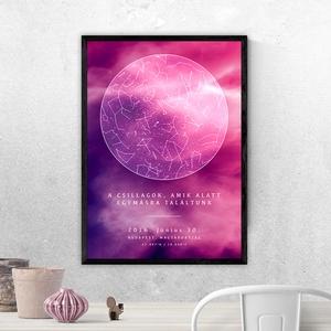 Csillagtérkép - Típusok: Kör, Szív, Saját fotóddal / Szín: Lila Univerzum (10 fajta színben a termékeim között!), Otthon & Lakás, Dekoráció, Kép & Falikép, Fotó, grafika, rajz, illusztráció, Mindenkinek van legalább egy felejthetetlen emléke az életében.Örökítsd meg a pillanatot egy különl..., Meska