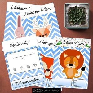 Baba mérföldkő, hónapkártya (fiú) 28 db-os / gyerek, újszülött, ajándék, ötlet, babaváró, anya, szülő, cuki, állatos , Játék & Gyerek, Babalátogató ajándékcsomag, Fotó, grafika, rajz, illusztráció, 28 db-os baba mérföldkő kártya szett, mely segít dokumentálni a pici fejlődését, jól jön a fotók kés..., Meska