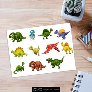 Dinoszaurusz matrica - Egyedi dínós grafika matricapapír matricák scrapbook ragasztós, Művészet, Portré & Karikatúra, Karikatúra, Fotó, grafika, rajz, illusztráció, Dinoszaurusz matricák.\n\nKb 13x19 cm-es lapon, összesen 11 db öntapadós matrica, melyeknek átlagos mé..., Meska