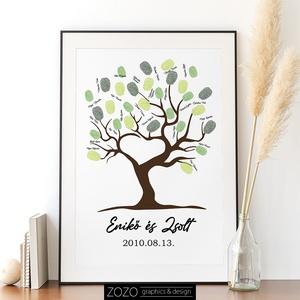 """Esküvői ujjlenyomat fa \""""vendégkönyv\"""" - eskövő házasság lakodalom modern egyedi kellék dekoráció menyasszony vőlegény , Esküvő, Emlék & Ajándék, Vendégkönyv, Fotó, grafika, rajz, illusztráció, Egyedi, modern \""""vendégkönyv\"""" esküvőkre, az ifjú pár nevével, és a dátummal.\nIgény esetén egyéb, álta..., Meska"""