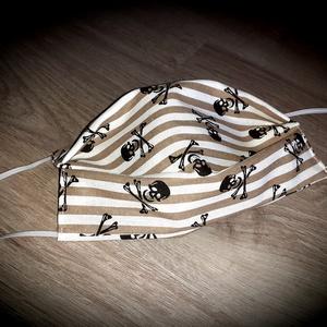 Felnőtt maszk, szájmaszk csíkos koponyás 2 rétegű, NoWaste, Textilek, Táska, Divat & Szépség, Szépség(ápolás), Maszk, szájmaszk, Varrás, 2 rétegű, 100% minőségi pamutvászonból készült, gondosan válogatott és szívből készült maszkjaimat t..., Meska
