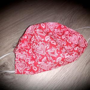 Felnőtt maszk, szájmaszk piros sziv mintás 2 rétegű, NoWaste, Textilek, Táska, Divat & Szépség, Szépség(ápolás), Maszk, szájmaszk, Varrás, 2 rétegű, 100% minőségi pamutvászonból készült, gondosan válogatott és szívből készült maszkjaimat t..., Meska