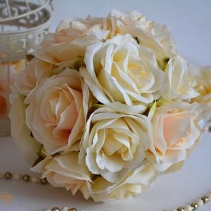 Provanszi álom, Menyasszonyi- és dobócsokor, Esküvő, Virágkötés, Csodás selyemvirág minőségi krémfehér és színátmenetes puderrózsaszín selyemvirágból kötöttem. Szára..., Meska