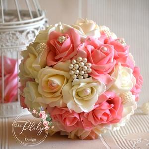 Pazar Ékszercsokor, Esküvő, Esküvői csokor, Esküvői ékszer, Pazar mégis finom eleganciát sugárzó törtfehér-málnás-rózsaszín gömb esküvői csokor.Látványos gyöngy..., Meska