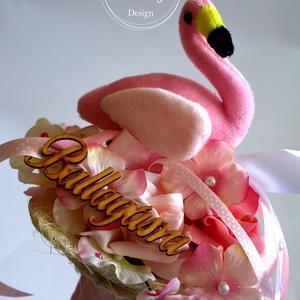 Flamingó csokor, Csokor & Virágdísz, Dekoráció, Otthon & Lakás, Virágkötés, Trendi Flamingó ballagási csokor. Örök virágokkal. Jelenleg a halvány rózsaszín flmingót tudom elkés..., Meska