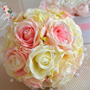 Elitt elegancia selyemcsokor, Menyasszonyi- és dobócsokor, Esküvő, Virágkötés, Csodás selyemvirág fejekből készült a kerek csokor, színátmenetes púder-rózsaszínből és minőségi kré..., Meska