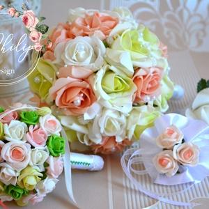 Egzotikus esküvői garnitúra, Esküvő, Esküvői csokor, Esküvői dekoráció, Virágkötés, A garnitúra tartalma egy menyasszonyi örökcsokor 7900Ft.-\nMini dobócsokor-koszorúslánycsokor:4500Ft...., Meska