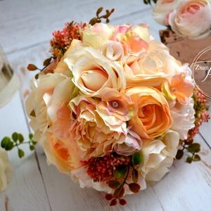 Vintage Elit selyem csokor, Esküvő, Otthon & lakás, Esküvői csokor, Esküvői dekoráció, Dekoráció, Csokor, Virágkötés, Csodás selyemvirág minőségi krémfehér és színátmenetes puderrózsaszín selyemvirágból kötöttem. Szár..., Meska