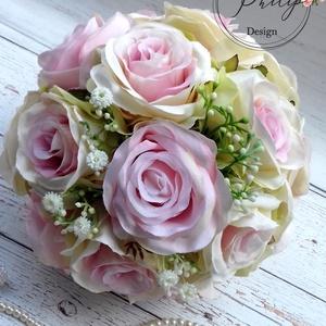 Pasztel álom csokor, Esküvő, Esküvői csokor, Otthon & lakás, Dekoráció, Csokor, Lakberendezés, Asztaldísz, Virágkötés, Romantikus vintage színátmenetes és púder rózsaszín élethű,prémium minőségű selyemvirágból habrózsáb..., Meska