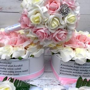 Luxus Garnitúra , Esküvő, Esküvői csokor, Esküvői dekoráció, Meghívó, ültetőkártya, köszönőajándék, Csodás garnitúra pasztel színekben,tartalma Ékszer Csokor 8500Ft.- 2 szülőköszöntő szív virágbox 650..., Meska