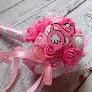 Flamingós mini csokor, Otthon & lakás, Dekoráció, Ünnepi dekoráció, Ballagás, Lakberendezés, Asztaldísz, Virágkötés, Bájos mini kislány csokor,kérheted flamingóval vagy unikornissal is.Szüli/névnapra,óvódai ballagásra..., Meska