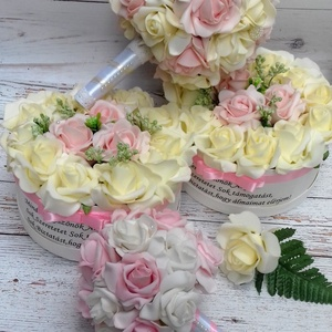 Luxus pasztell garnitúra, Esküvői szett, Esküvő, Virágkötés, Luxus garnitúra rózsaszín és vaj színű habrózsákból. A garnitúra tartalma:\nEsküvői csokor 7 900Ft.-\n..., Meska