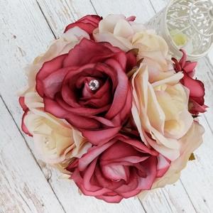 Provanszi selyemcsokor, Menyasszonyi- és dobócsokor, Esküvő, Virágkötés, Csodás selyemcsokor provanszi hangulatban. , Meska