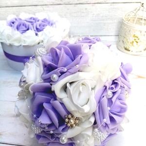 Lila álom csokor, Menyasszonyi- és dobócsokor, Esküvő, Virágkötés, Orginalila fehér habrózsából készült az örök csokor. , Meska