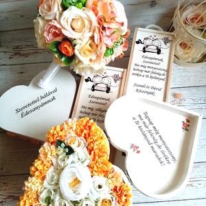 Csodás gsrnitúra, Esküvő, Menyasszonyi- és dobócsokor, Virágkötés, A garnitúra tartalma minőségi selyemcsokor. 2 egyedi szöveges bortartó 2 szöveges szív virágbox.\nTov..., Meska