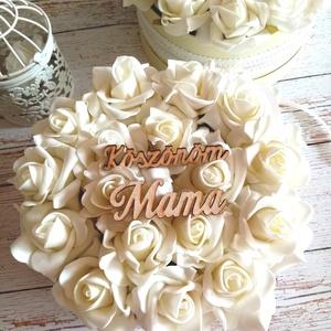 Mama köszönöm viragbox, Esküvő, Emlék & Ajándék, Köszönőajándék, Virágkötés, Vintage hangulatú viragbox nagymamáknak. Átmérője 19 cm, Meska