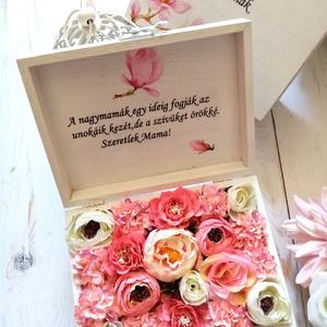 Mama virágbox, Esküvő, Emlék & Ajándék, Köszönőajándék, Decoupage, transzfer és szalvétatechnika, Virágkötés, Nagymamáknak virágos köszönőajándék. Édesanyáknak is kérhető ma még menyasszonyos és vőlegényes idéz..., Meska