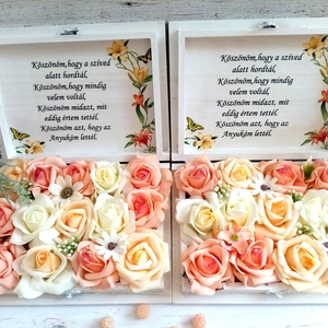 Vintage virágos ládika, Esküvő, Emlék & Ajándék, Szülőköszöntő ajándék, Decoupage, transzfer és szalvétatechnika, Virágkötés, Fa szöveges örök barack, vaj habrózsa virágos ládika. További termés keimet megtekintheted ZsanPhili..., Meska