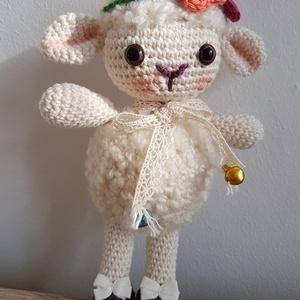 Blanka bárány, Gyerek & játék, Játék, Játékfigura, Baba-és bábkészítés, Horgolás, 100% pamut fonalból amigurumi horgolási technikával és biztonsági babaszemek felhasználásával készül..., Meska