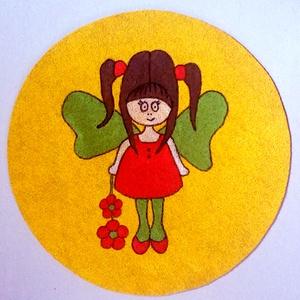 """Tündérlány, textilre festett falikép, Gyerek & játék, Gyerekszoba, Baba falikép, Otthon & lakás, Dekoráció, Kép, Festett tárgyak, Fotó, grafika, rajz, illusztráció, Egy igazi tündérlány, kinek a \""""gyerekszoba úrnője\"""" megsúghatja kívánságait, vágyait!...Dekorációs fa..., Meska"""