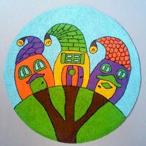 Bohókás Manóház, textilre festett falikép, Gyerek & játék, Gyerekszoba, Baba falikép, Otthon & lakás, Dekoráció, Kép, Festett tárgyak, Fotó, grafika, rajz, illusztráció, Bohókás manóházikók, melyek igazi huncut kis lakói titkait rejtik! Dekorációs falikép gyerekszobába!..., Meska