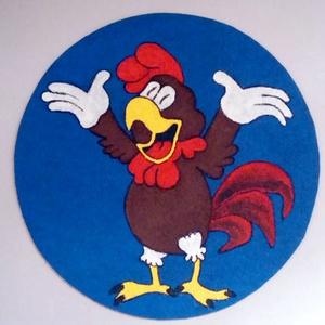 Kakas Koma, textilre festett falikép, Gyerek & játék, Gyerekszoba, Baba falikép, Otthon & lakás, Dekoráció, Kép, Festett tárgyak, Fotó, grafika, rajz, illusztráció, Vidám Kakas Koma, kinek a segítségével talán könnyebb és szórakoztatóbb lehet, a reggeli ébredés!......, Meska