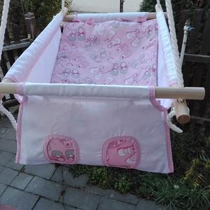 100 % pamut fehér - rózsaszín kiscipős hinta (zsebifiu) - Meska.hu