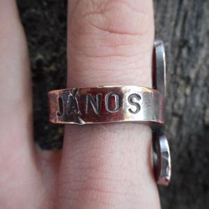 Réz gyűrű, Ékszer, Gyűrű, Férfiaknak, Táska, Divat & Szépség, Fémmegmunkálás, Kovácsoltvas, Rézből készült egyedi tervezésű és mintázatú gyűrű. Név és/vagy dátumbeütés ajándék. Kívülre, belülr..., Meska