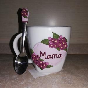 Teáscsésze virág mintával felirattal és kanállal, Otthon & Lakás, Bögre & Csésze, Konyhafelszerelés, Gyurma, Meska