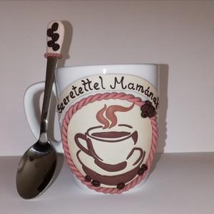 Kávéscsésze mintás bögre + kanál, Otthon & lakás, Konyhafelszerelés, Bögre, csésze, Gyurma, Kávéscsésze mintás bögre kanállal\n\nKérésre más méretben, mintával, felirattal is elkészítem...., Meska