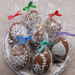 Mézeskalács húsvéti tojás., Otthon & lakás, Dekoráció, Dísz, Mézeskalácssütés, Mézeskalácsból készült díszített tojás akasztóval.\nBelül üreges.\nMagassága kb 9 cm.\nAz ár egy darabr..., Meska