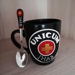 Unicum logós bögre egyedi neves felirattal, kanállal, Otthon & Lakás, Bögre & Csésze, Konyhafelszerelés, Logós bögre teáskanállal  Kérésre más színű bögrére, más felirattal is elkészítem., Meska