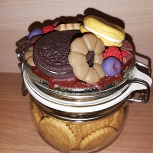 Süti mintás csatos üveg, Otthon & Lakás, Dísztárgy, Dekoráció, Sütis, csokis mintás csatos üveg. Egyedi kéréseket is szívesen teljesítek, kedvenc, süti, csoki is m..., Meska