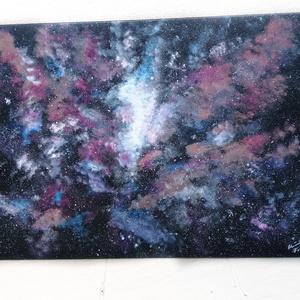 Galaktikus panoráma / 60 x 80 cm , Akril, Festmény, Művészet, Festészet, Galaxist ábrázoló festmény, feszített vászonra készült akril technikával. \nSzínes, mégsem tolakodó, ..., Meska